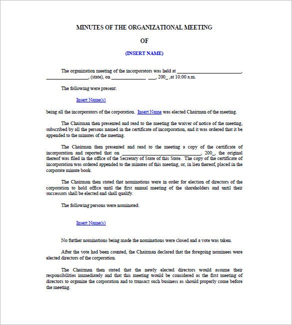 free corporate meeting minutes template download
