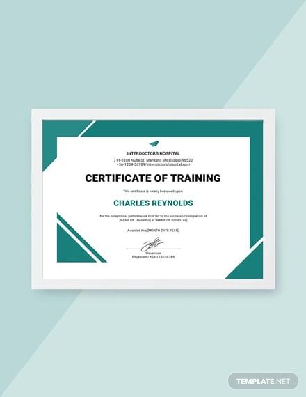 free hospital training certificate