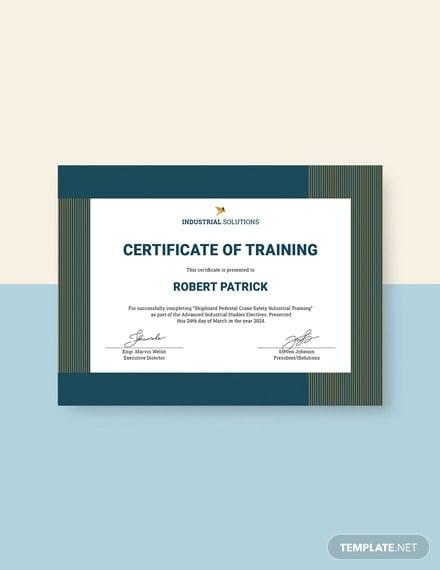 free industrial training certificate