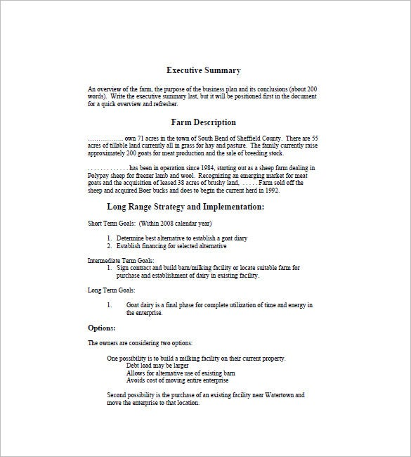 Farm Business Plan Template – 13+ Free Word, Excel, PDF Format ...