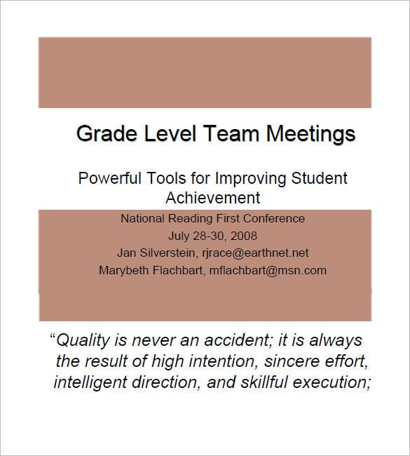 grade level team meeting minutes template