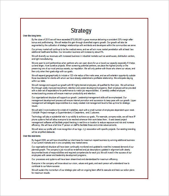 strategic business plan template word
