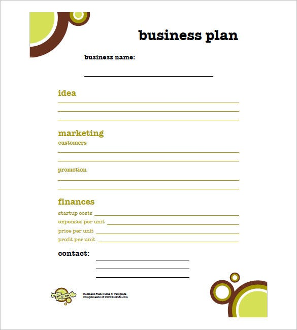 Basic Business Plan Outline Simple Template Free Templates One Page Pdf