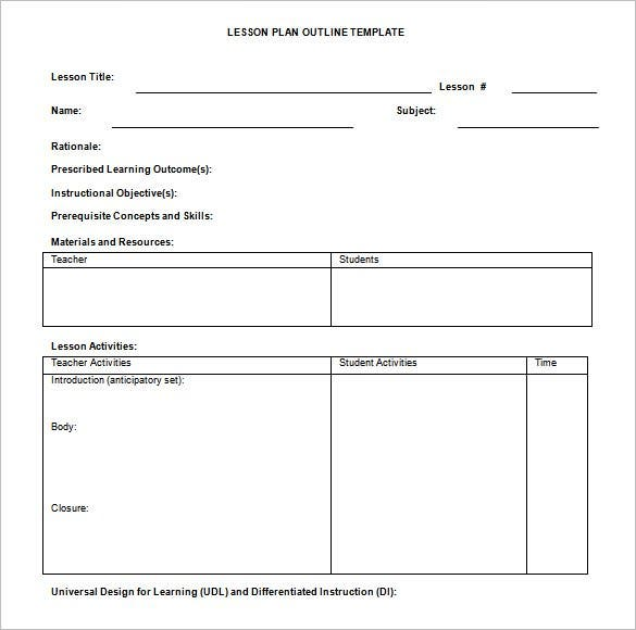 Lesson Plan Template Word DOC Sample Download