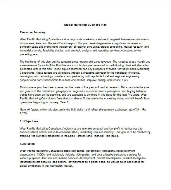 Marketing Business Plan Template   Free Word Excel Pdf Format