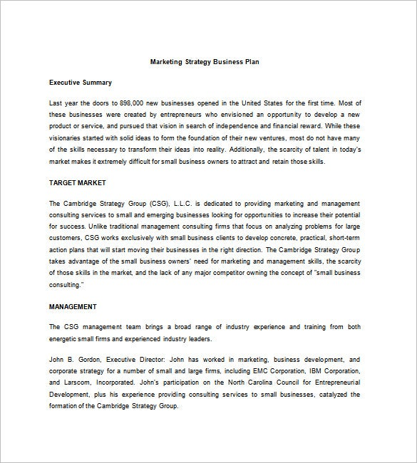 marketing strategic business plan template
