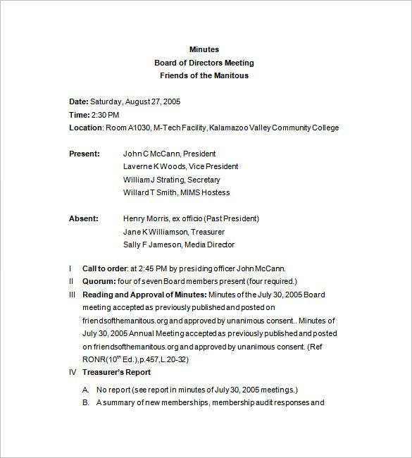 Board Meeting Minutes Template Free