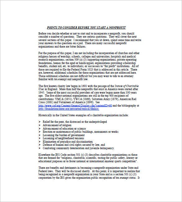 Non Profit Business Plan Template   8  Free Word Excel PDF Format WDcpB6hc