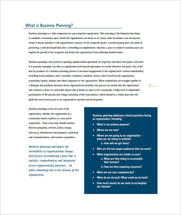 non profit business plan template