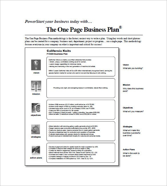 one page business plan template 11 free word excel pdf format