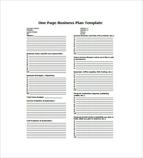 One Page Business Plan Template   Free Word ExcelPdf Format