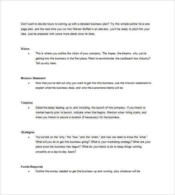 One Page Business Plan Template 11 Free Word Excelpdf Format