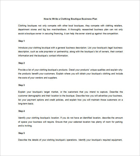 business plan for clothing store pdf