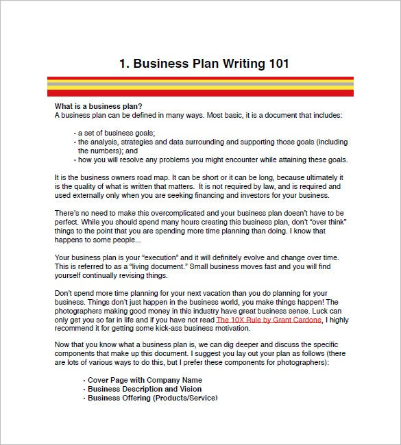 Photography Business Plan Template 7 Free Word Excel PDF – Business Plan Format
