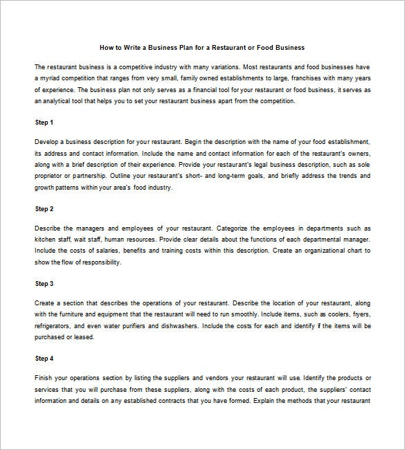 Restaurant Business Plan Template Free Word Excel PDF - Business plan template for a restaurant