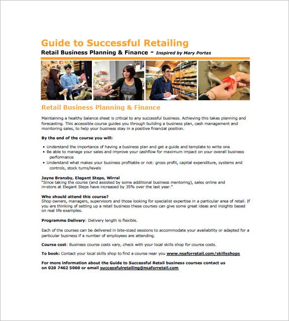 retail store business plans