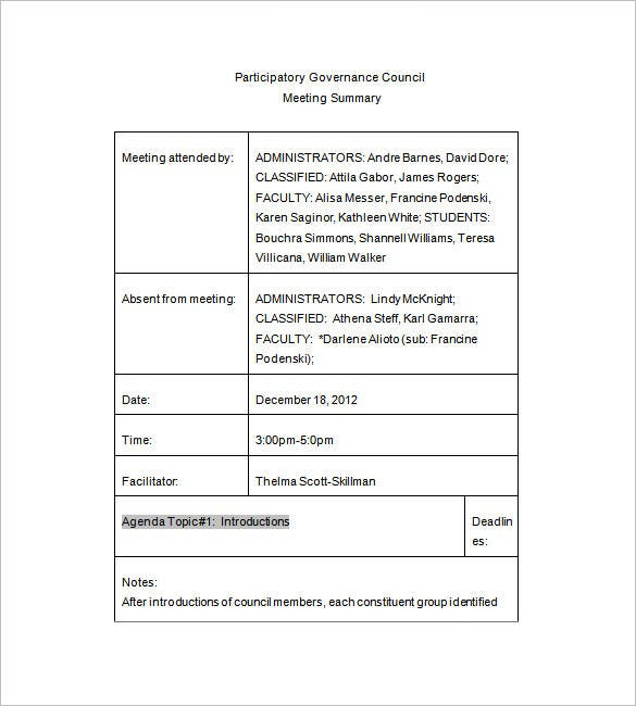 committee meeting minutes templates 13 free word pdf download