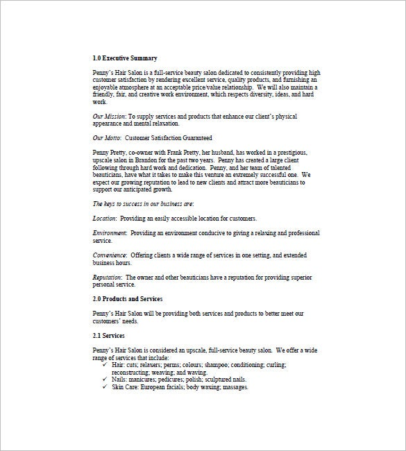 spa salon business plan template 11 free word excel