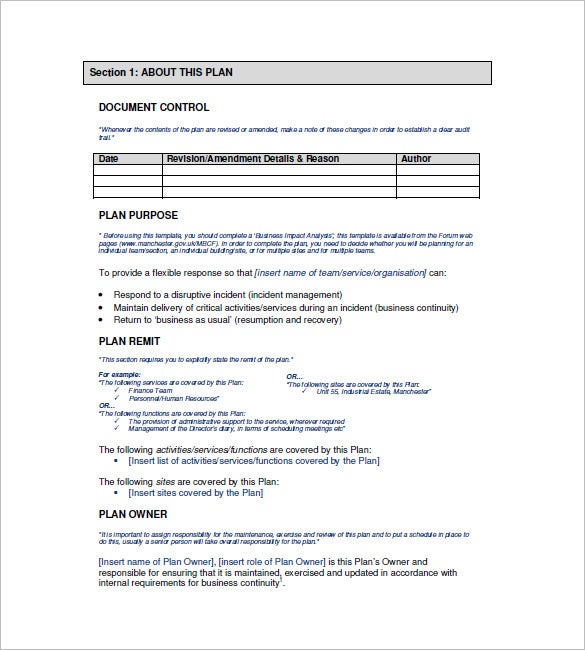 Business Continuity Plan Template – 12+ Free Word, Excel, PDF ...