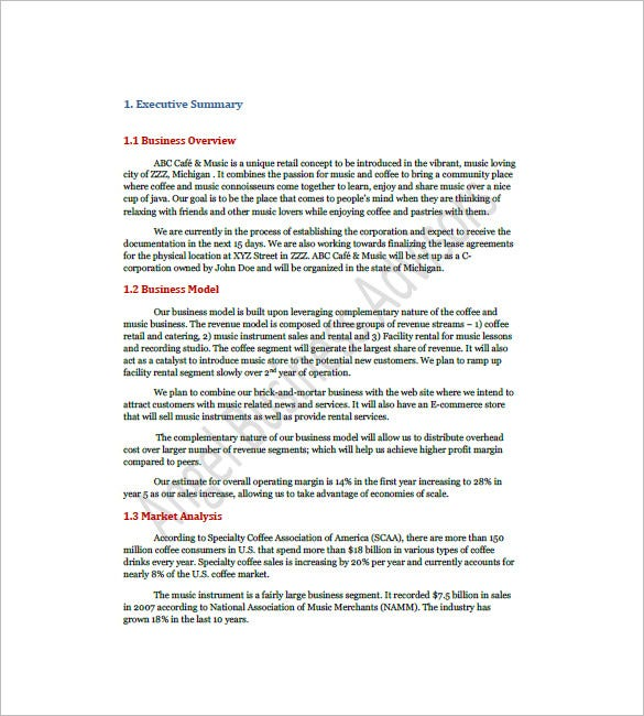 Business Plan Free Download