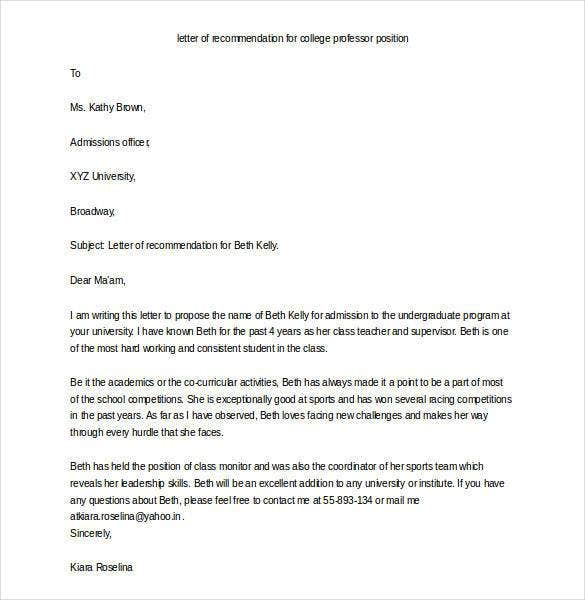 Captivating Sample Letter Of Recommendation For College Professor Position  Sample Letter Of Recommendation