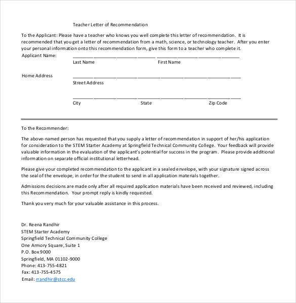 sample of recommendation letter for teacher applicant
