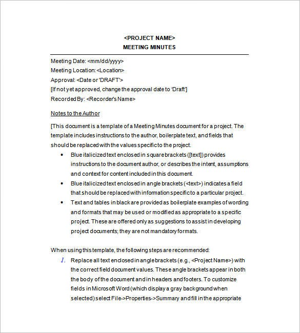13 project meeting minutes templates doc pdf excel