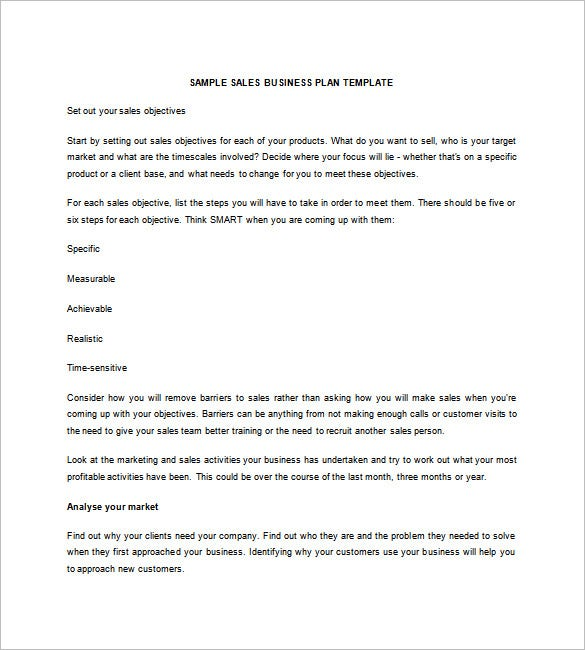 Sales Business Plan Template Free Word Excel PDF Format - Business plan template word free download