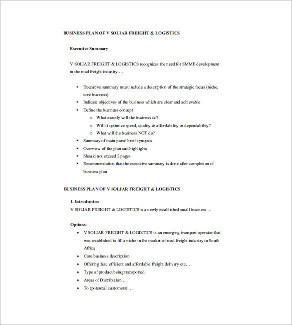 Small Business Plan Template   Free Sample Example Format