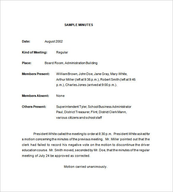 18 school meeting minutes templates pdf doc free for Trust minutes template