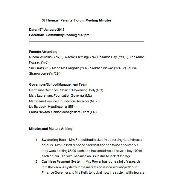 school improvement meeting minutes template