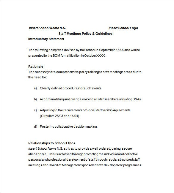 school staff meeting minutes template1