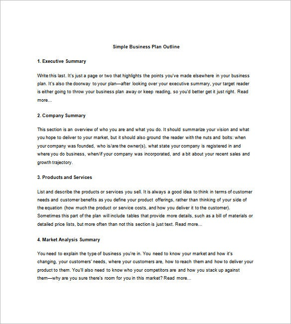 Business Plan Sample Easy Business Plan Sample