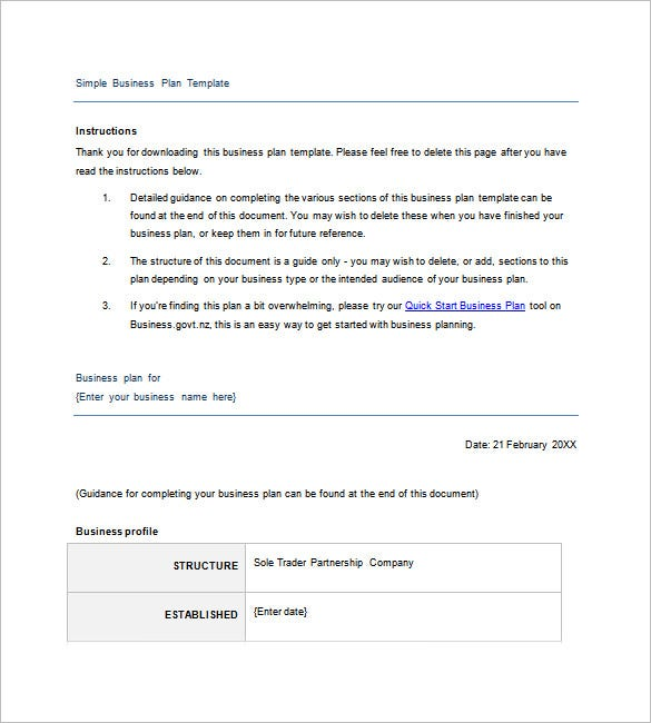 Simple Business Plan Template Free Sample Example Format - Simple business plan templates