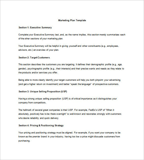 marketing business plan template 19 free sample example format