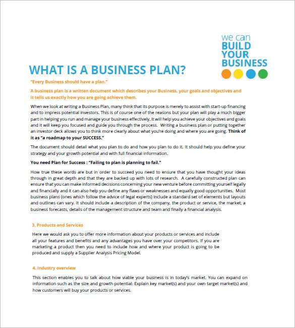 Small Business Plan Template Free Sample Example Format - Full business plan template