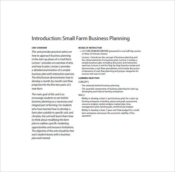 Farm Business Plan Template 13 Free Word Excel Pdf Format