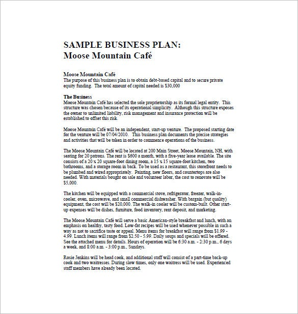 Restaurant Business Plan Template   Free Word Excel Pdf