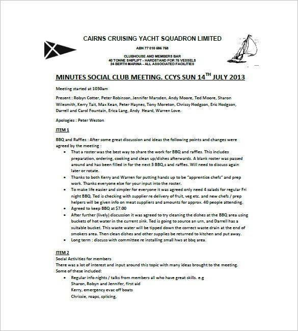 social club meeting minutes template