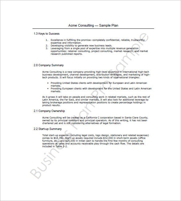 Business Plan Template For Mac - 8+ Free Word, Excel, Pdf Format