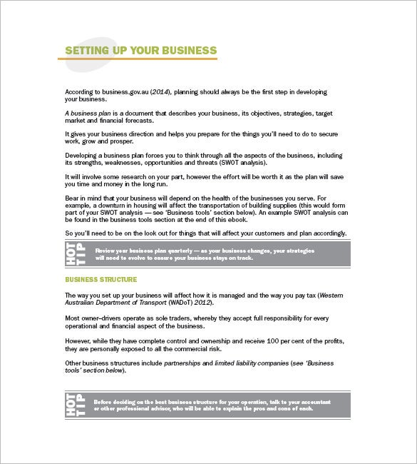 Trucking Plan Business Template   Free Word Excel Pdf Format