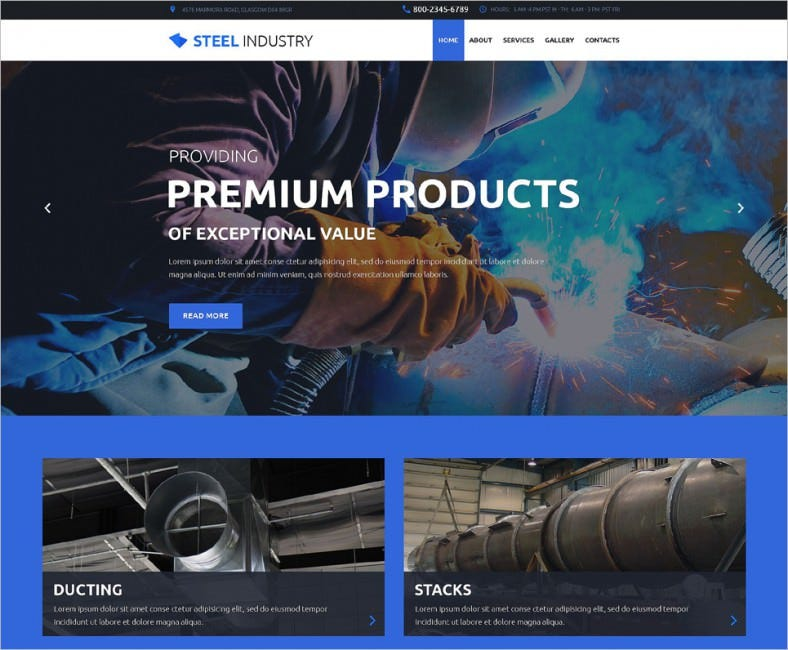 steel industry website template 788x650
