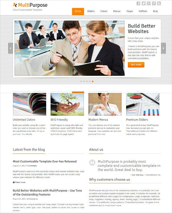 unique and modern multipurpose responsive html5 website template