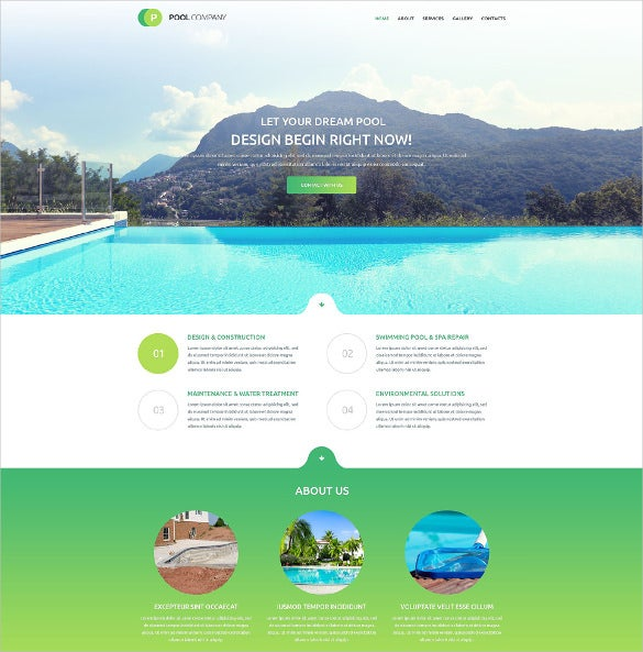 premium responsive pool cleaning html5 website template