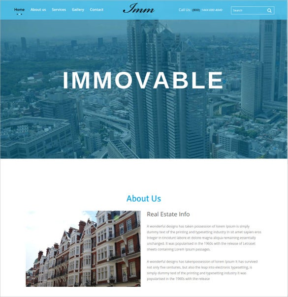 clean flat real estate html5 website template free download