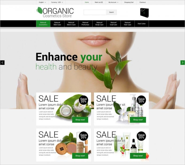 cosmetics store responsive opencart template 788x701