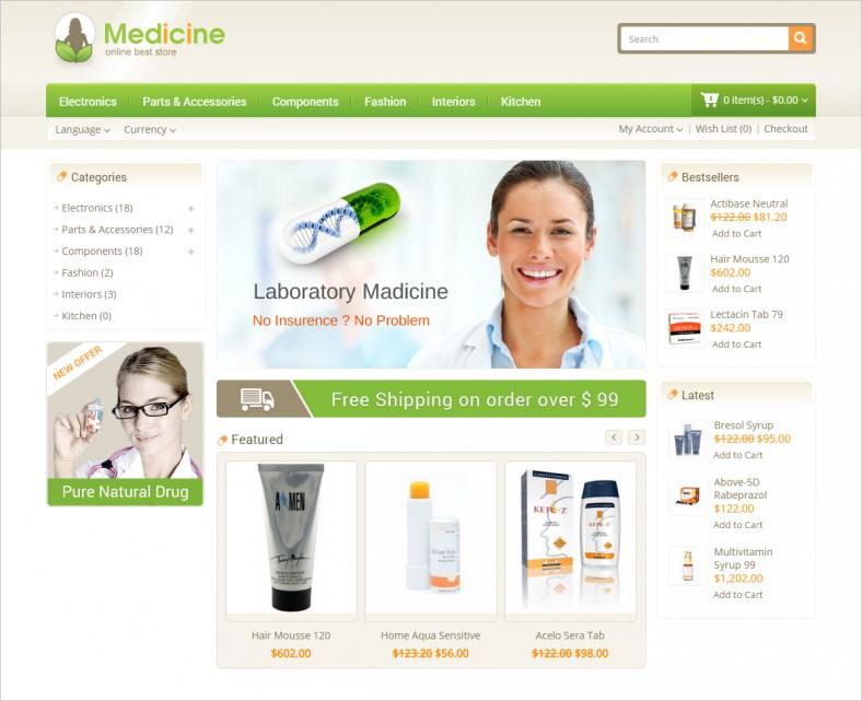 medicine opencart responsive template 788x641