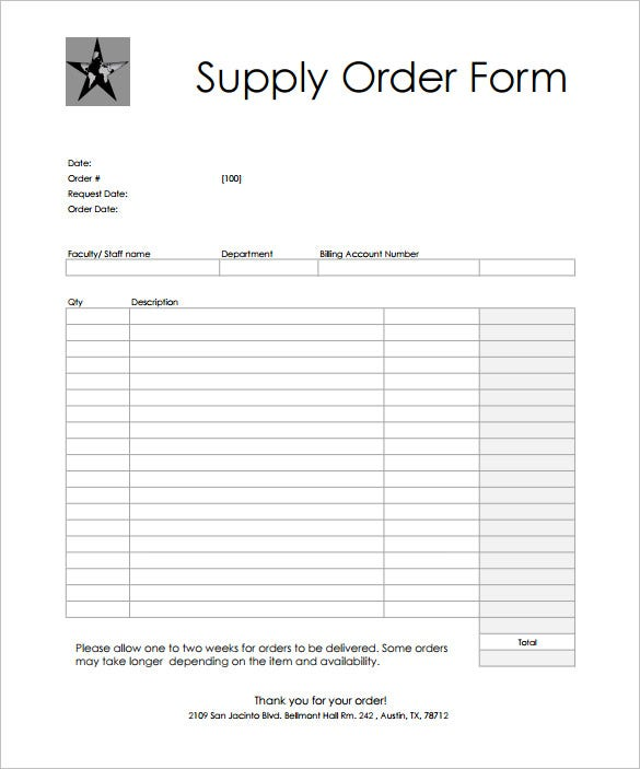 simple supply order form template download edit