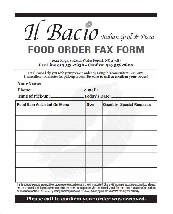 Exceptional Food Order Form Template