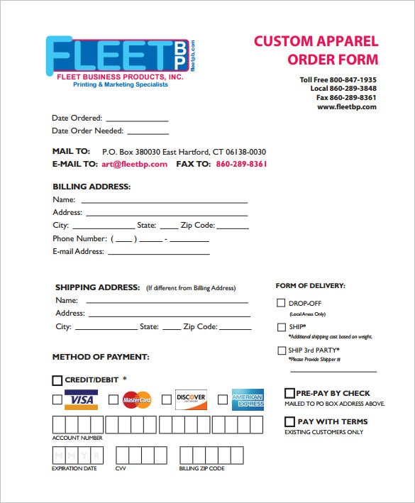 apparel order form template download free